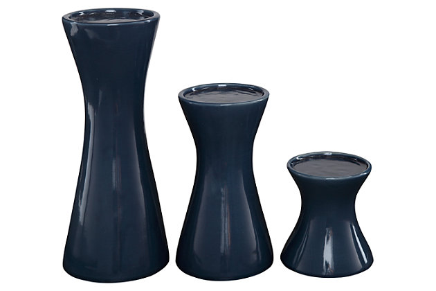 Cais Candle Holder (Set of 3), Navy, large