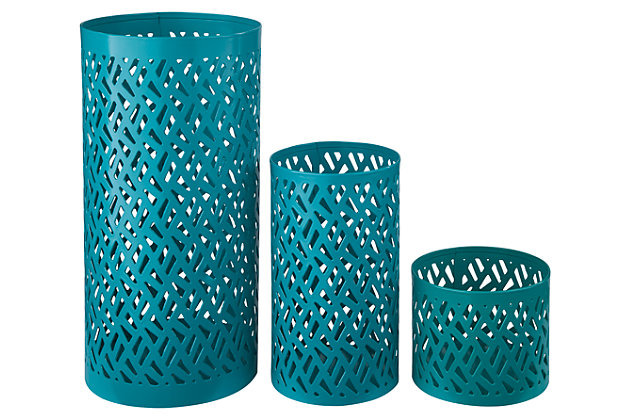 Caelan Candle Holder (Set of 3) by Ashley HomeStore, Teal
