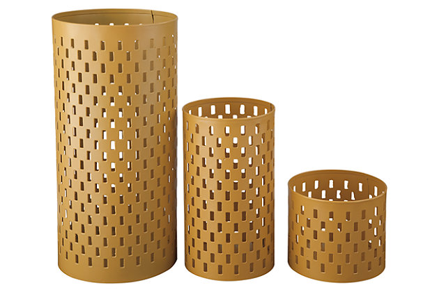 Caelan Candle Holder (Set of 3), Yellow, large