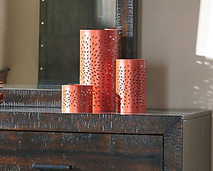 Caelan Candle Holder (Set of 3), Orange, large