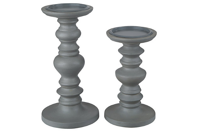 Dallin Candle Holder (Set of 2) by Ashley HomeStore, Gray