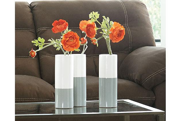 Dalal Vase (Set of 3), Gray/White, large