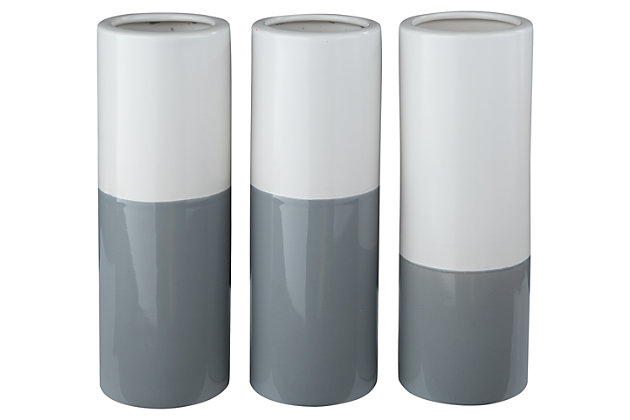 Dalal Vase (Set of 3) by Ashley HomeStore, Gray & White