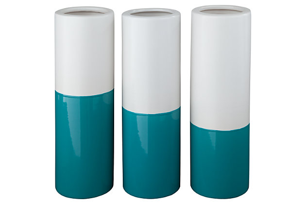 Dalal Vase (Set of 3) by Ashley HomeStore, Teal & White
