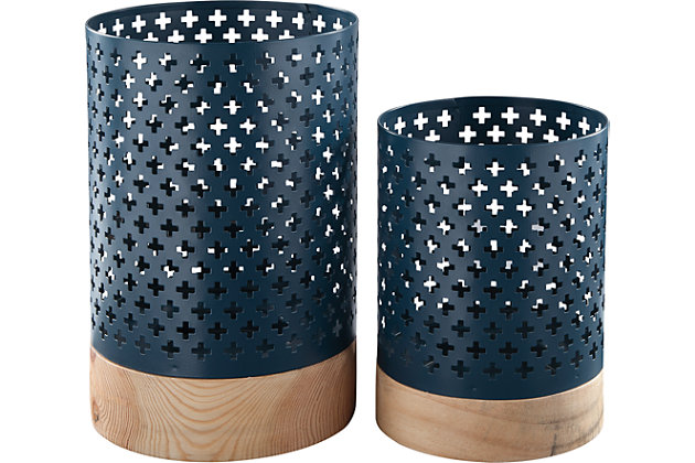 Daichi Candle Holder (Set of 2) by Ashley HomeStore, Navy & Tan