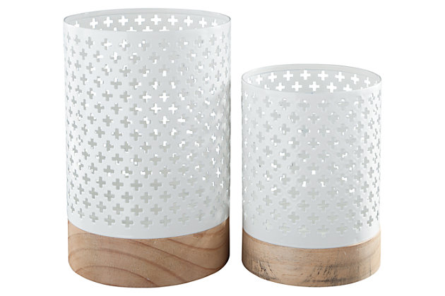 Daichi Candle Holder (Set of 2) by Ashley HomeStore, White & Tan