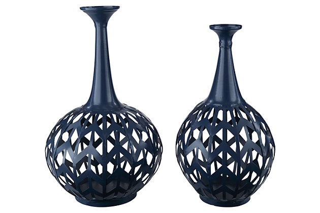 Daleyza Vase (Set of 2) by Ashley HomeStore, Navy