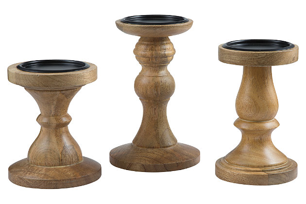 Kadience Candle Holder (Set of 3) by Ashley HomeStore, Tan