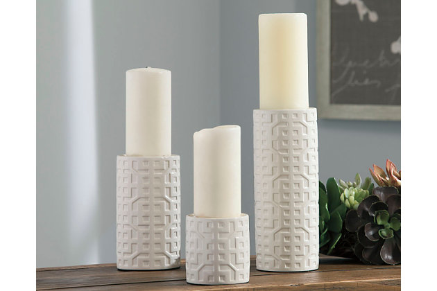 White Kael Candle Holder (Set of 3) by Ashley HomeStore