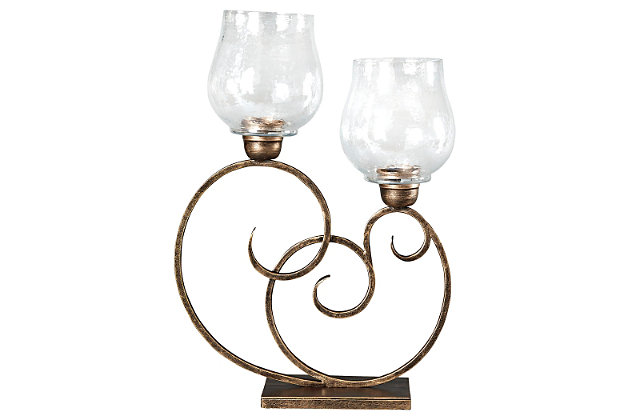 Oba Candle Holder by Ashley HomeStore, Gold Finish