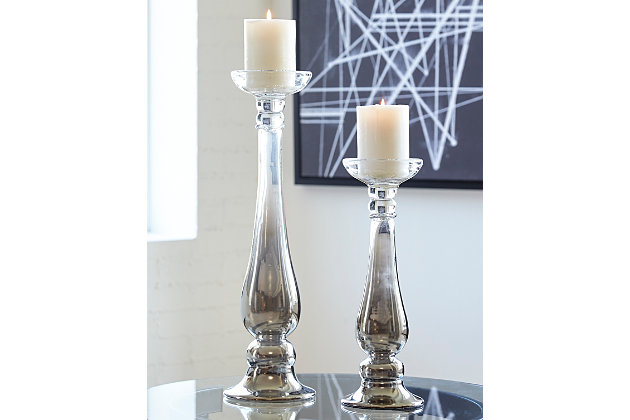 Devika Candle Holder (Set of 2) by Ashley HomeStore, Silver Finish
