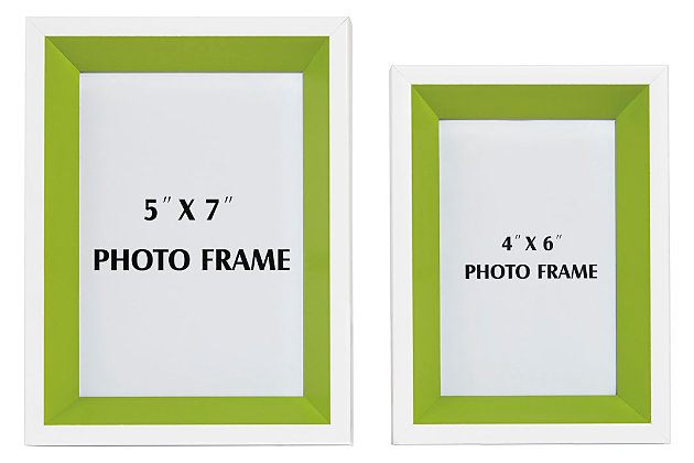 Obie Photo Frame (Set of 2), White/Green, large