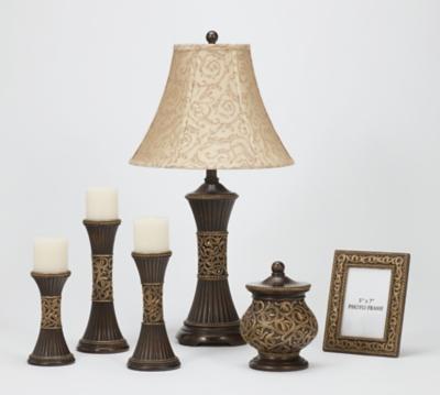 Ashley Mariana Table Lamp with Accessory Set, Bronze Finish