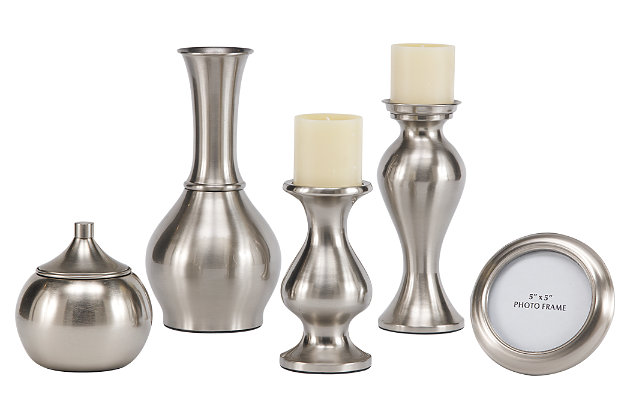 Silver Finish Rishona Accessory Set (Set of 5) by Ashley HomeStore