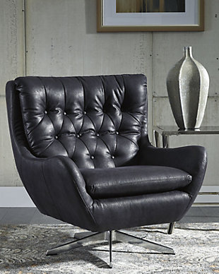 Velburg Accent Chair, Black, rollover
