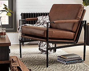 Puckman Accent Chair, Brown/Silver Finish, rollover