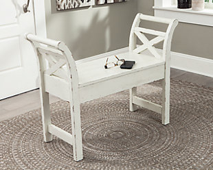 Heron Ridge Accent Bench, White, large
