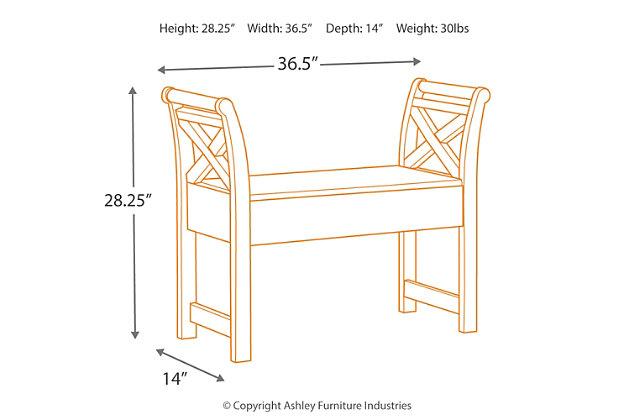Heron Ridge Accent Bench, White, large