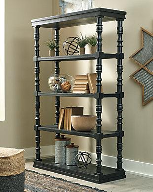 "Dannerville 74"" Bookcase, Antique Black, rollover"
