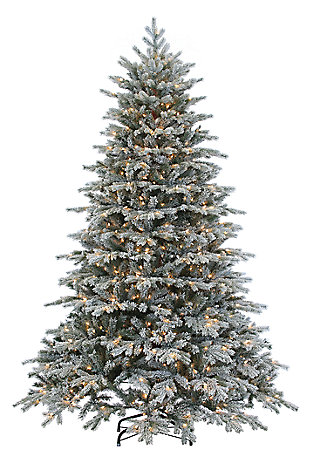 Holiday 7.5Ft. Flocked Natural Cut Vermont Spruce with 900 Lights, , large