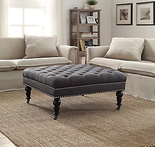 Isabelle Square Tufted Ottoman, Charcoal, rollover