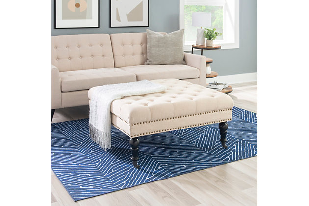 Isabelle Square Tufted Ottoman, Natural, large