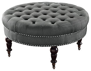 Isabelle Round Tufted Ottoman, Charcoal, large