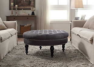 Isabelle Round Tufted Ottoman, Charcoal, rollover