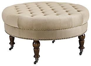 Isabelle Velvet Round Tufted Ottoman, , large