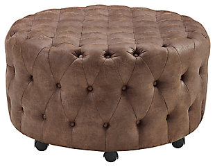 Wyatt Round Rolling Ottoman, , large