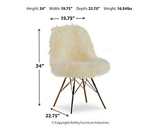Larissa Faux Fur Gold Base Chair, , large