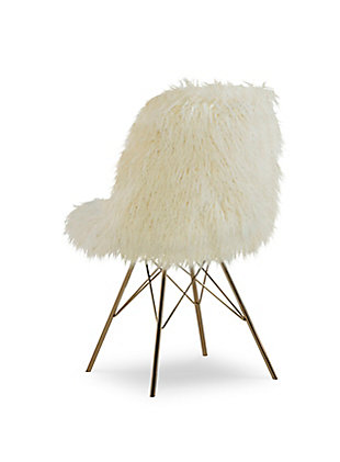 Larissa Faux Fur Gold Base Chair, , large