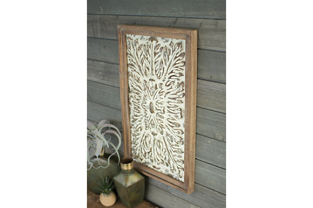 Rectangle Wood Framed Pressed Metal Wall Decor, , large