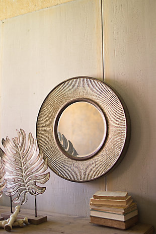 Round Pressed Metal Wall Mirror, , large