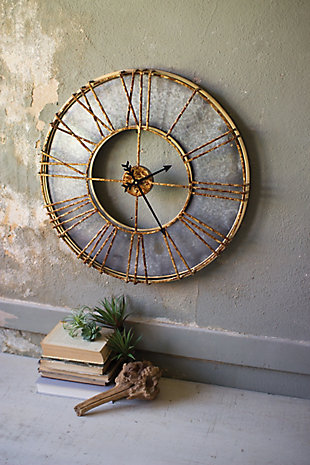 Metal Wall Clock with Roman Numerals, , large