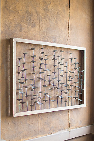 Wood Framed Metal Leaves Wall Décor, , large