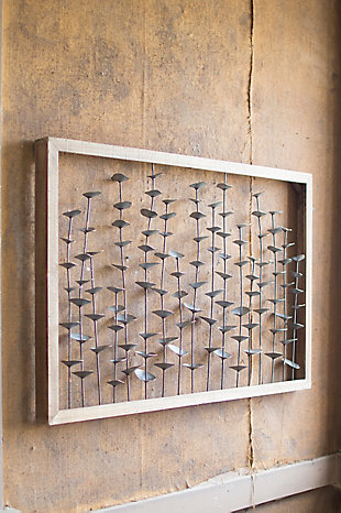 Wood Framed Metal Leaves Wall Decor, , large