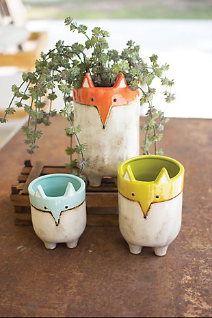 Ceramic Fox Planters (Set of 3), , rollover