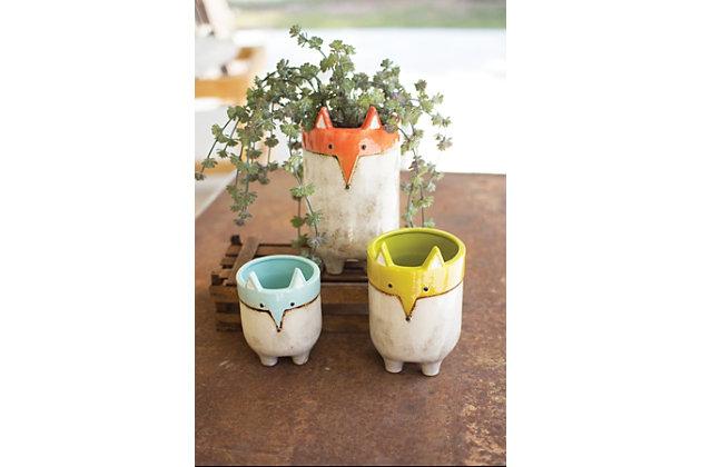Ceramic Fox Planters (Set of 3), , large