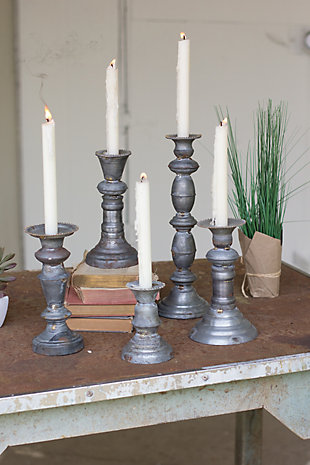 Zinc Candle Holders With Brass Detail (Set of 5), , rollover