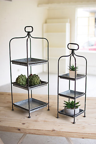 Metal Display Stands with Galvanized Trays (Set of 2), , large