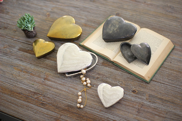 Cast Aluminum Silver Finish Heart Boxes (Set of 2), , large