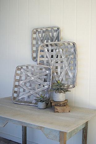 Square Woven Split Wood Baskets (Set of 3), , large