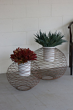 Wire Ball Planters with White Wash Pots (Set of 2), , rollover
