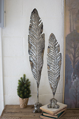 Metal Painted Leaf Sculptures (Set of 2), , large
