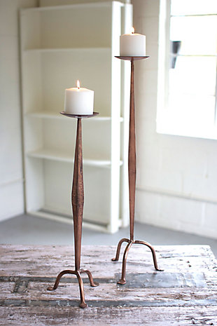Antique Finish Copper Candle Stands (Set of 2), , rollover