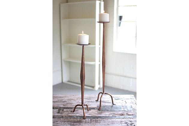 Antique Finish Copper Candle Stands (Set of 2), , large