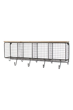 Wire Mesh Horizontal Cubbies With Wooden Top, , large