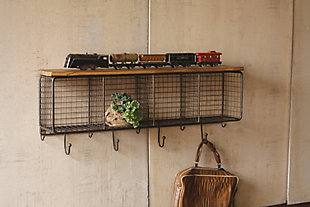 Wire Mesh Horizontal Cubbies With Wooden Top, , rollover