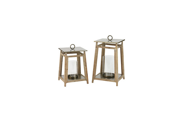 Metal and Wood Lanterns (Set of 2), , large